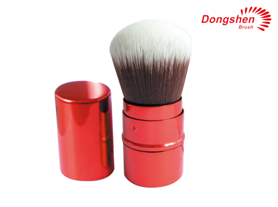 Synthetic hair red Retractable kabuki brush