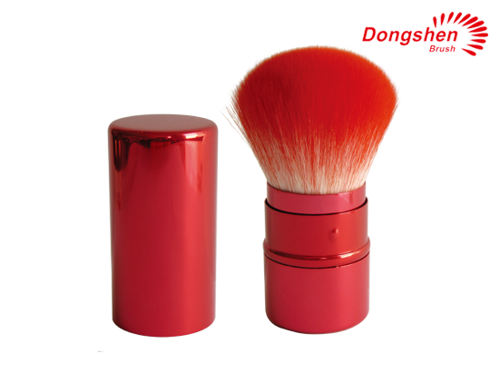 Red synthetic hair Retractable kabuki brush