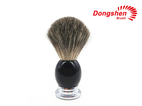 Black Resin&Chrome Pure Badger Hair Shaving Brush
