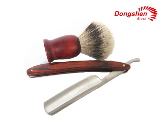 Wood handle shaving brush and straight razor for men
