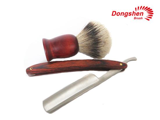 Wood handle shaving brush and straight razor for men