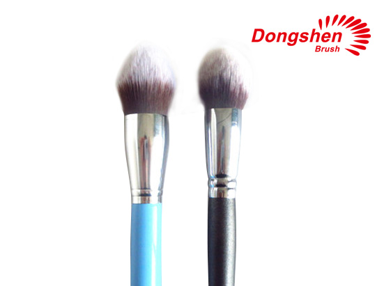 Wood handle synthetic hair powder brushes