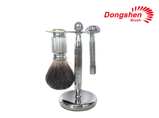Two Band badger hair metal handle shaving brush set