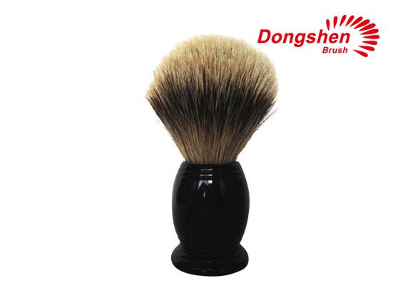 black resin handle badger hair shaving brush