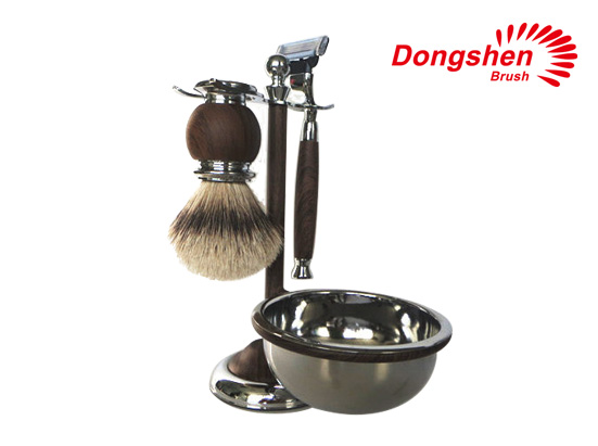 Faux wood metal shaving brush set